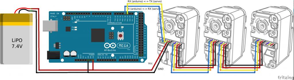 HerkuleXLib: wiring 3 servos